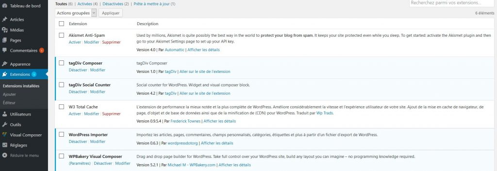 Accéder aux extensions dans WordPress