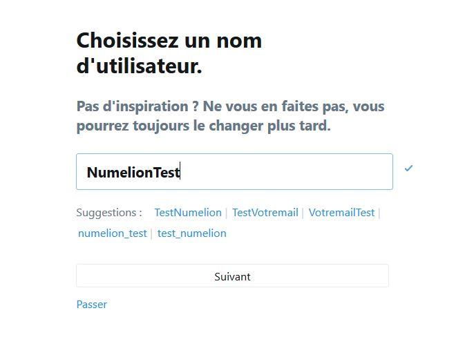 Choisir un nom d'utilisateur dans Twitter