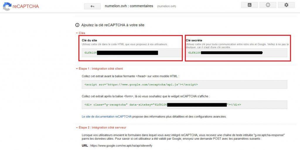 Clés API Google ReCaptcha