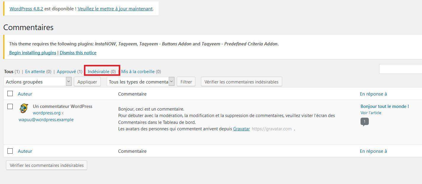 Commentaires indésirables dans WordPress