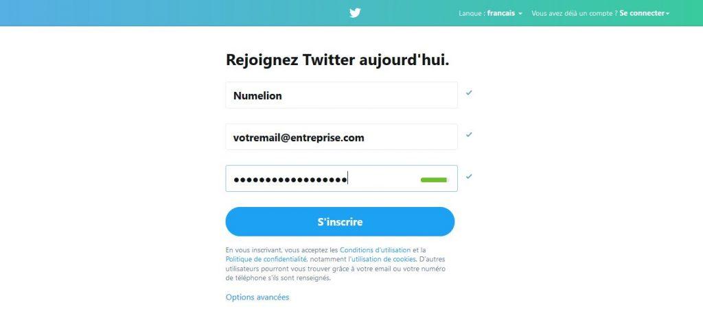 Créer un compte dans Twitter