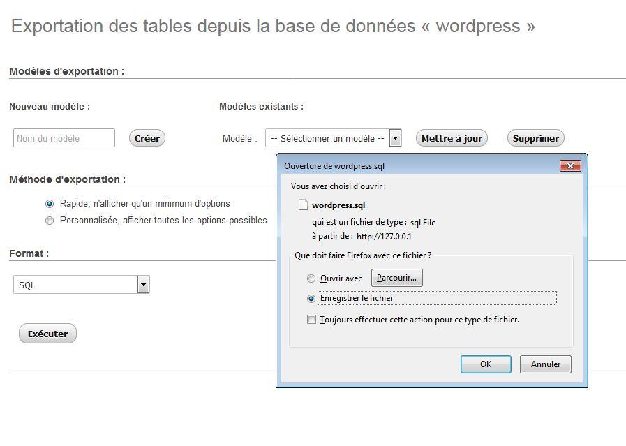 Exporter sa base de données WordPress