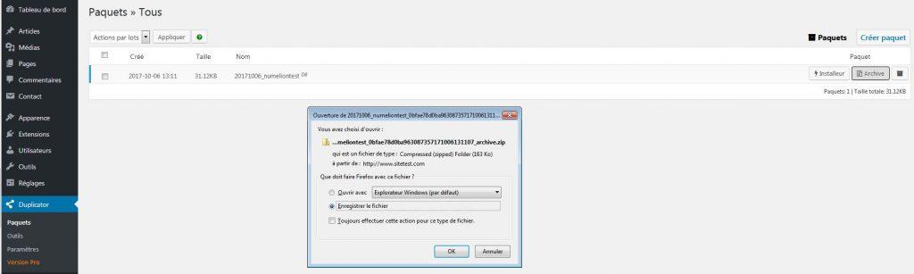 Extension Duplicator pour faire une sauvegarde de WordPress