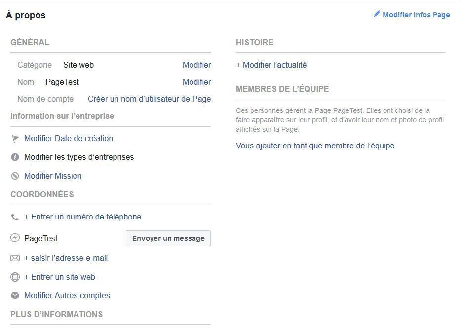 Information sur une page Facebook
