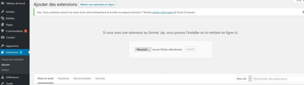 Installer une extension payante dans WordPress