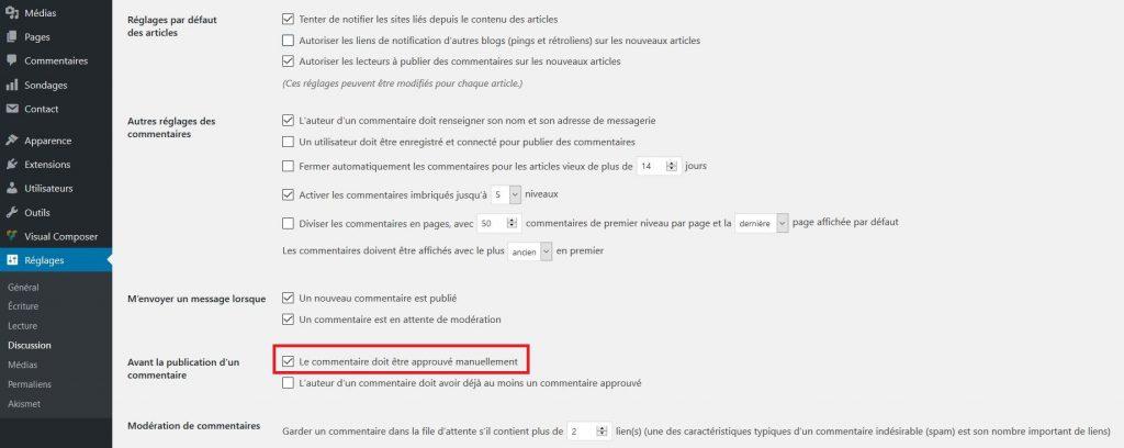 Modérer les commentaires dans WordPress