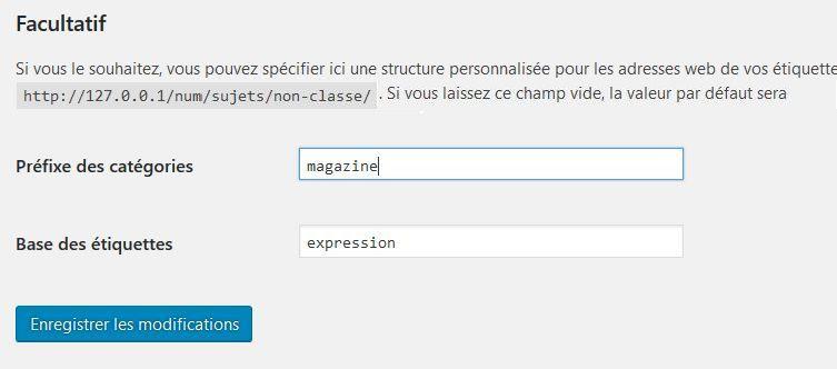 Modifier les URL des catégories et étiquettes