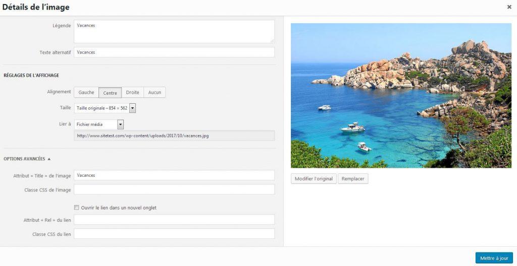 Modifier une image WordPress