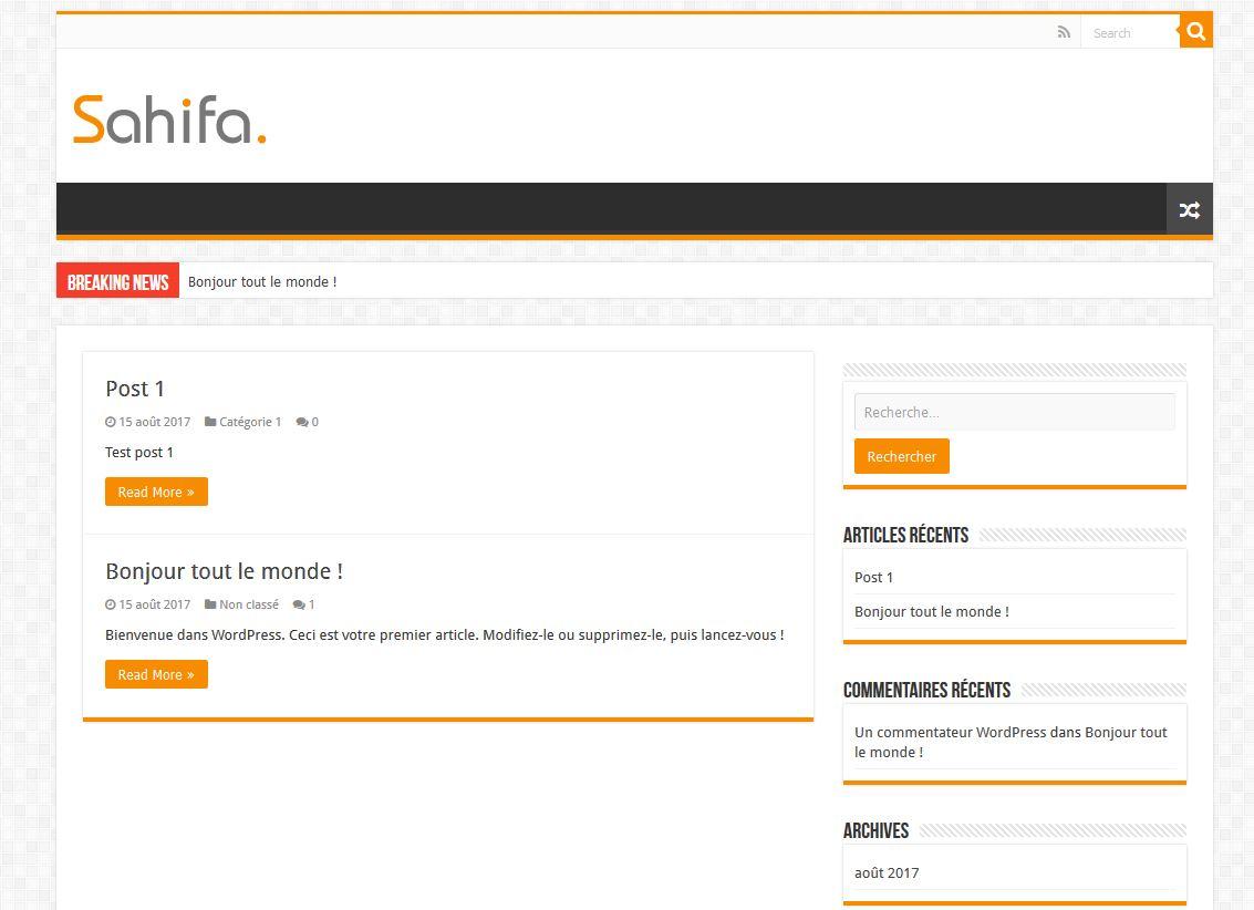 Nouveau thème WordPress