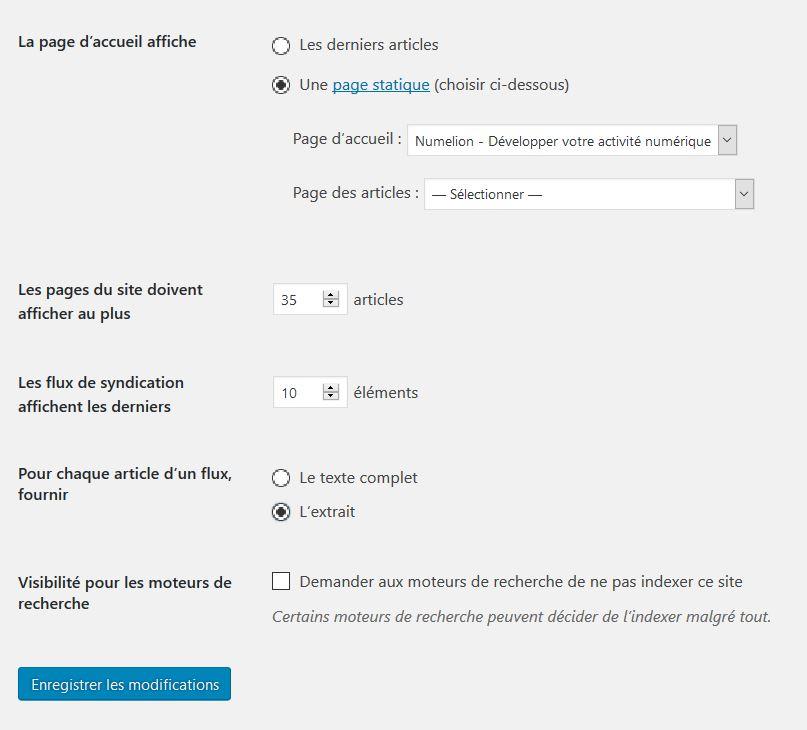 Page statique dans WordPress pour l'accueil