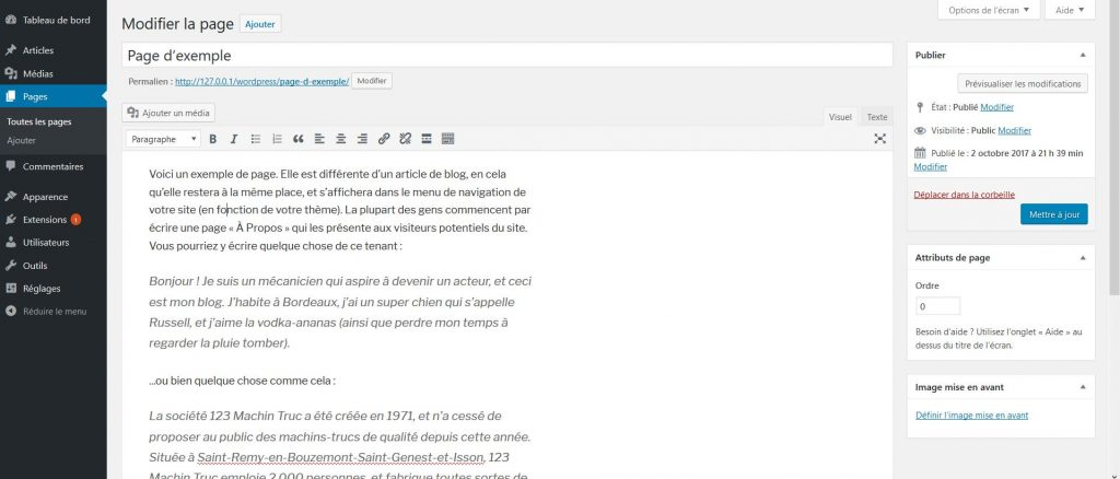 Page dans WordPress