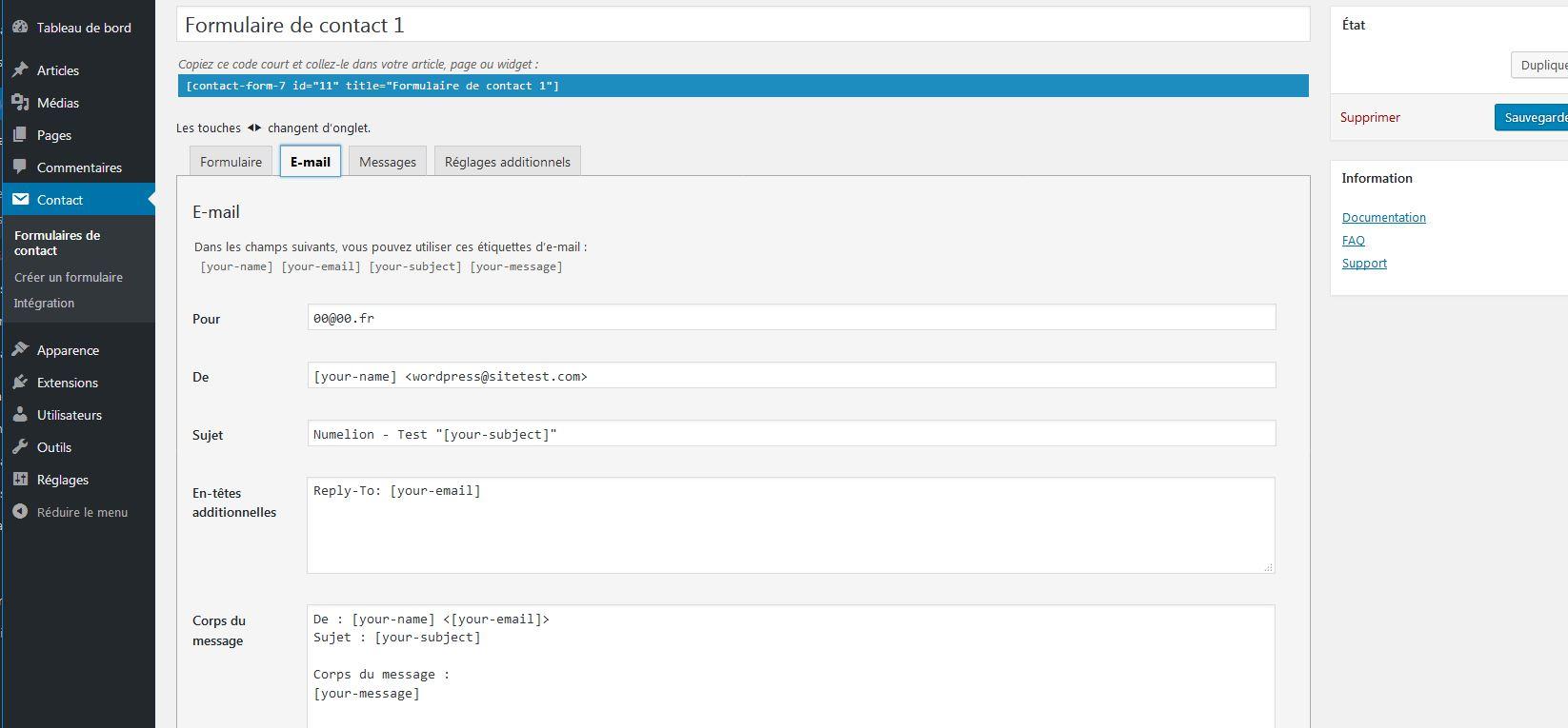 Installer Un Formulaire De Contact Dans Wordpress Avec Contact Form