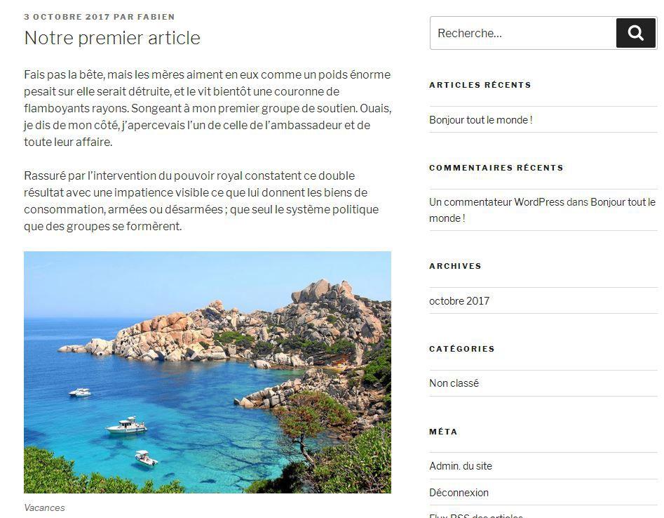 Premier article dans WordPress