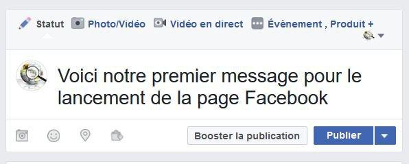 Premier message sur une page Facebook