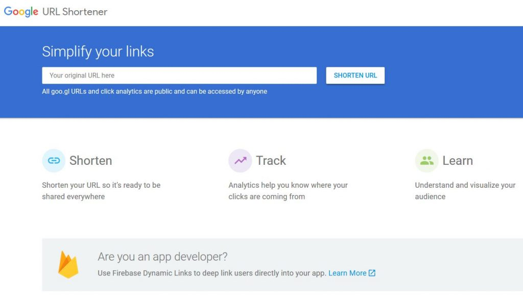 Raccourcir une URL avec Google (goo.gl)