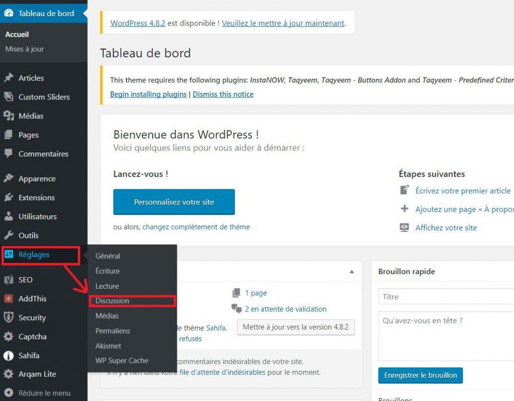 Réglages des commentaires dans WordPress