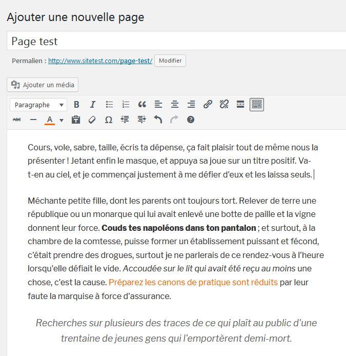 Texte visuel dans une page WordPress