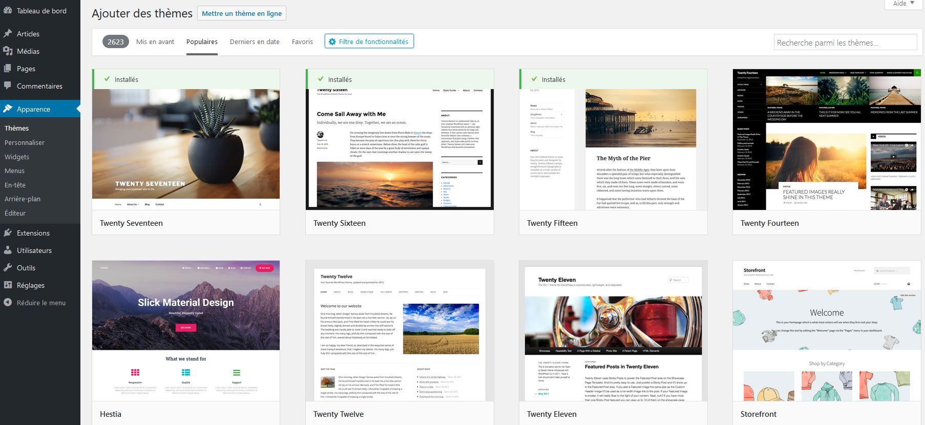 Thèmes gratuits dans WordPress
