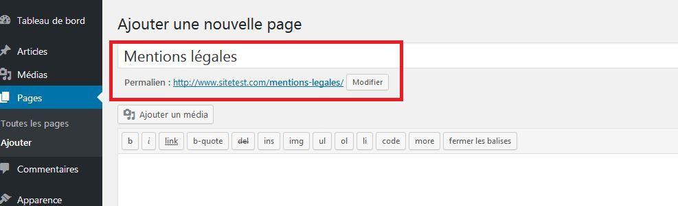 Titre et URL d'une page WordPress