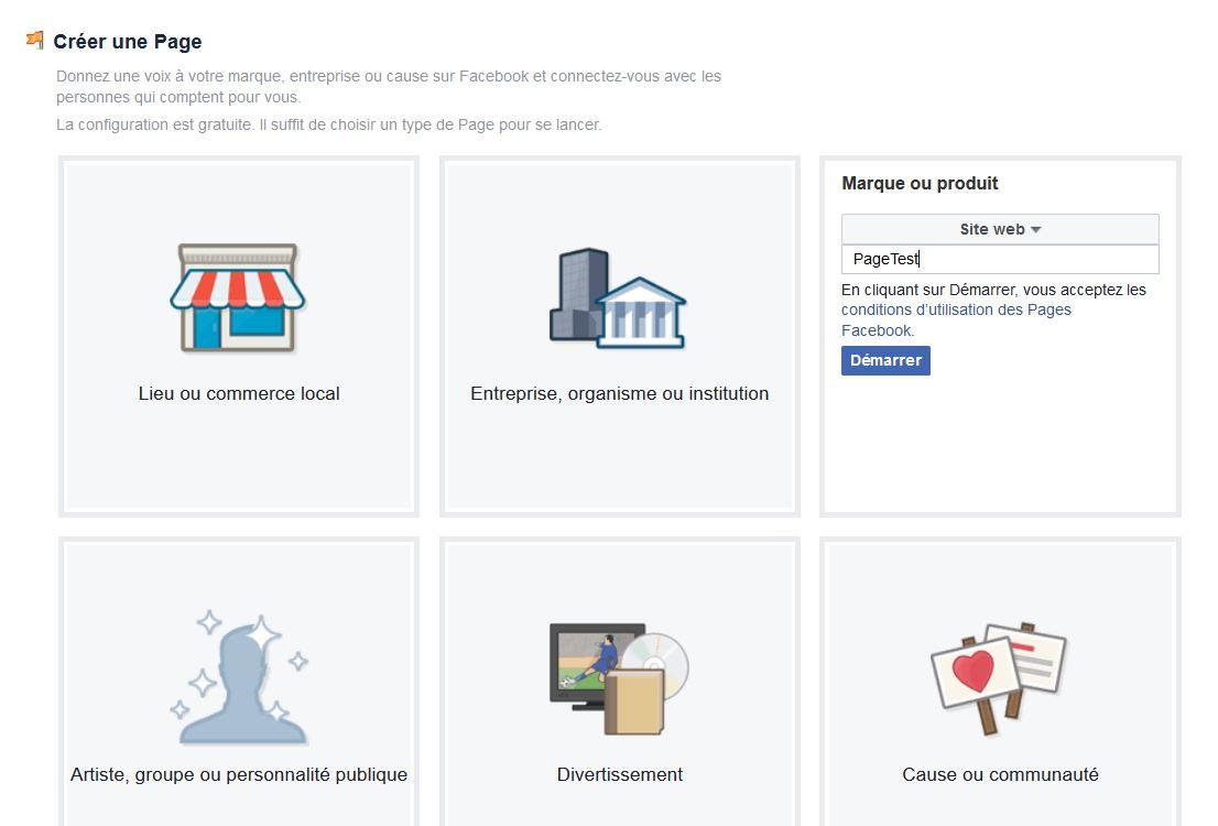 Type de page Facebook