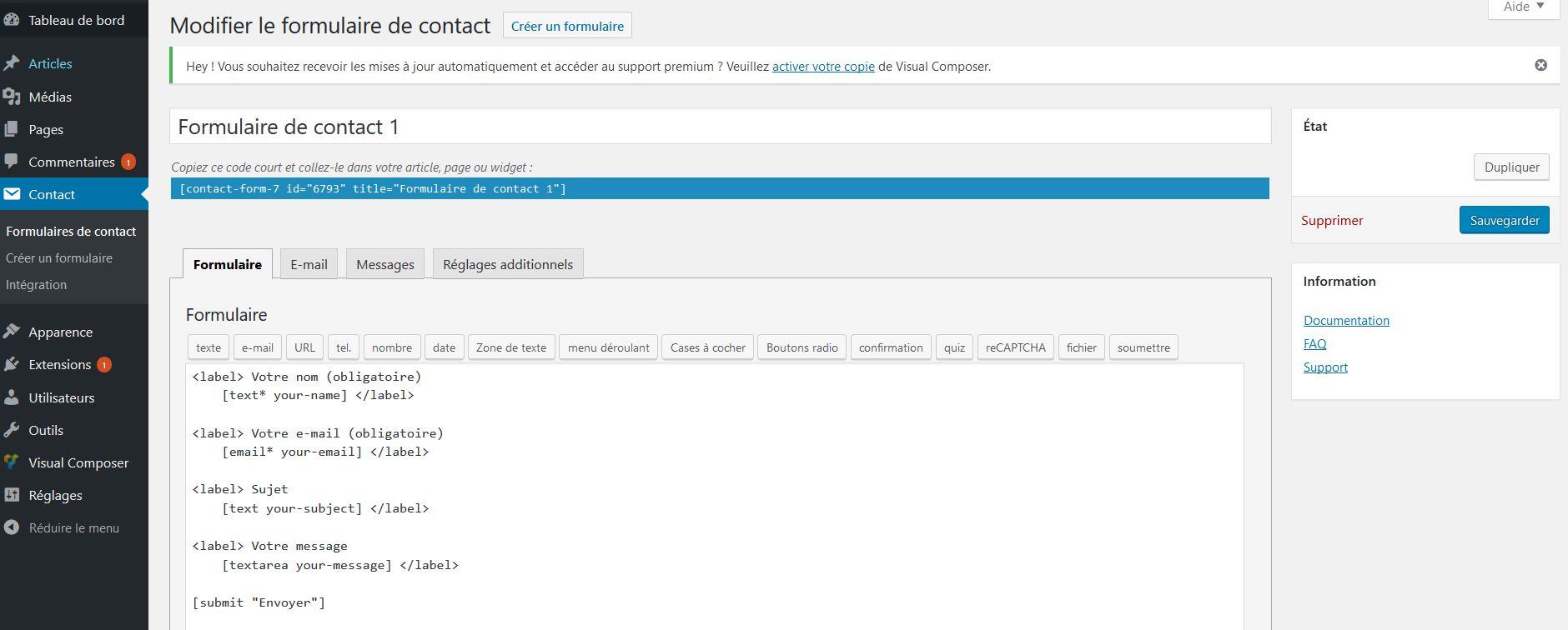 Utiliser une extension dans WordPress