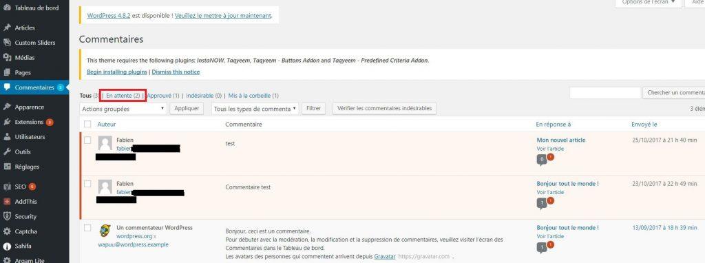 Vérifier les commentaires dans WordPress