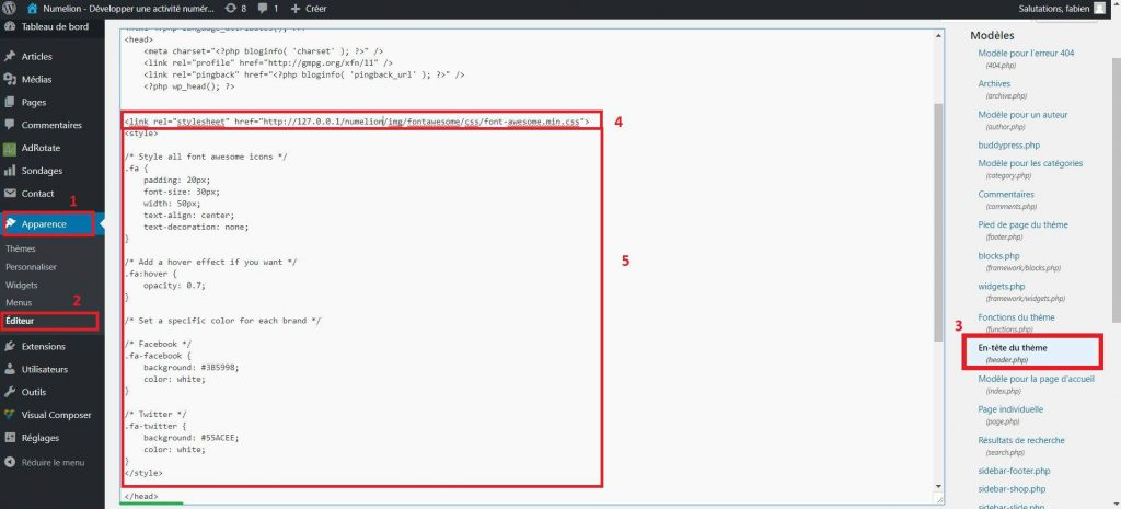 Ajouter le fichier et le code CSS