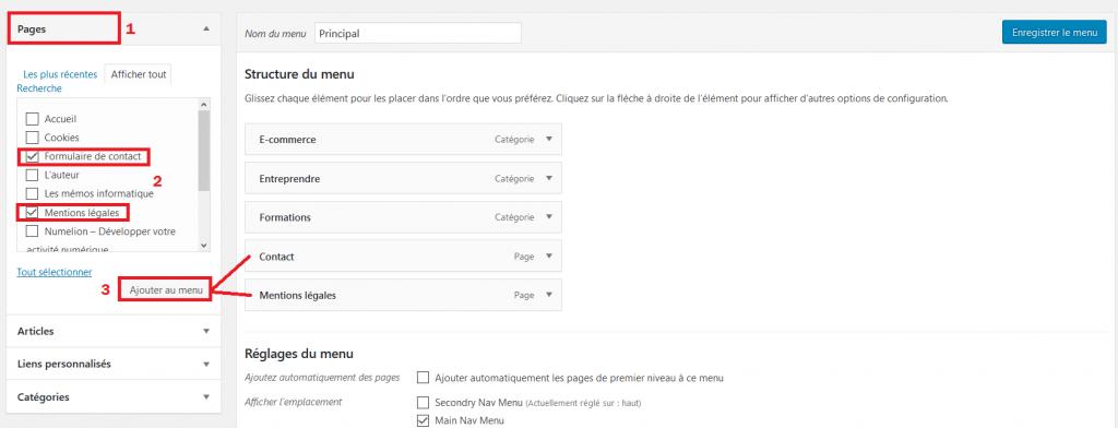 Ajouter des pages dans le menu de WordPress