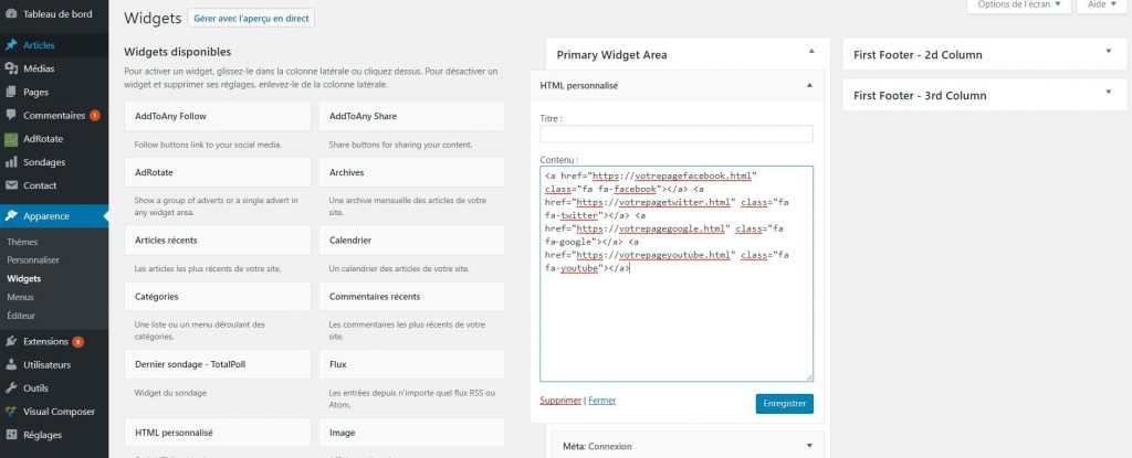 Ajouter un widget HTML