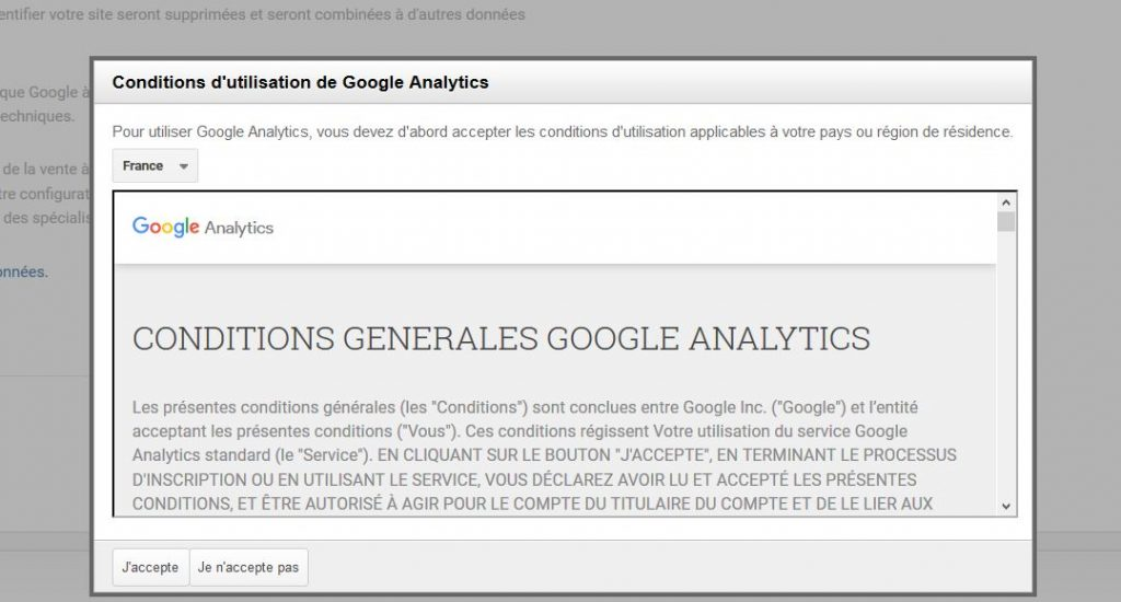 Conditions utilisations Google Analytics