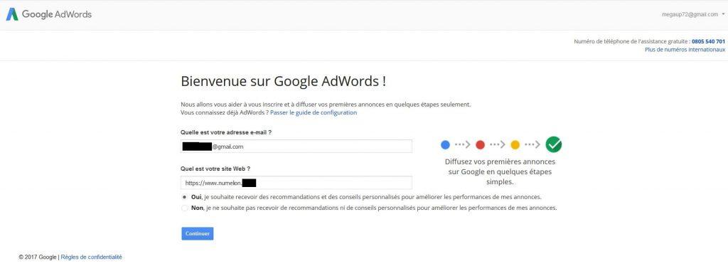Création de compte Google AdWords