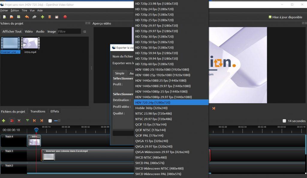 OpenShot - Exporter une vidéo après le montage