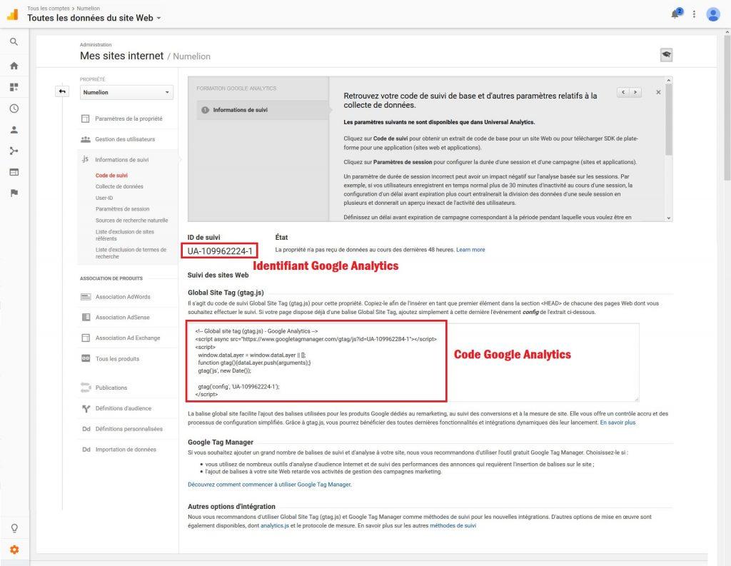 Identifiant et code Google Analytics