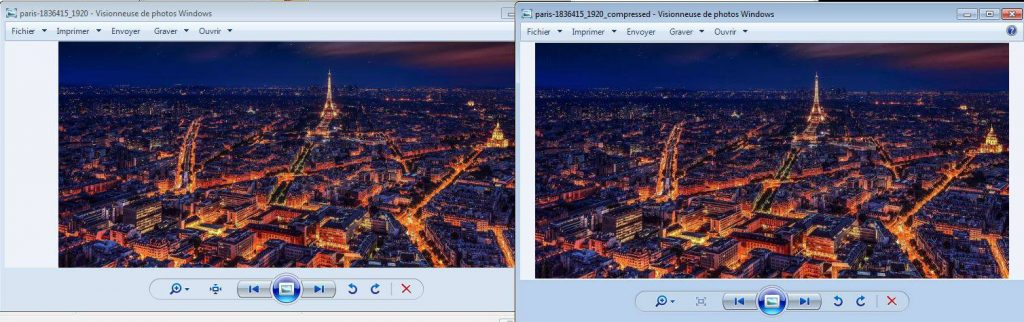 Images avant et après compression