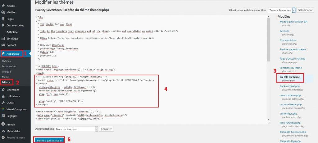 Insérer le code Google Analytics dans WordPress