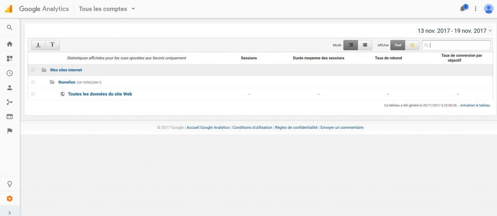 Interface de Google Analytics