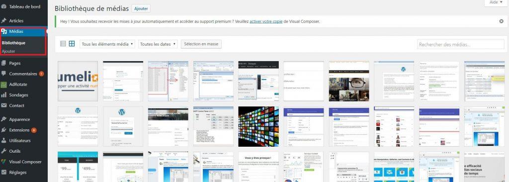 Parcourir la bibliothèque des images dans WordPress