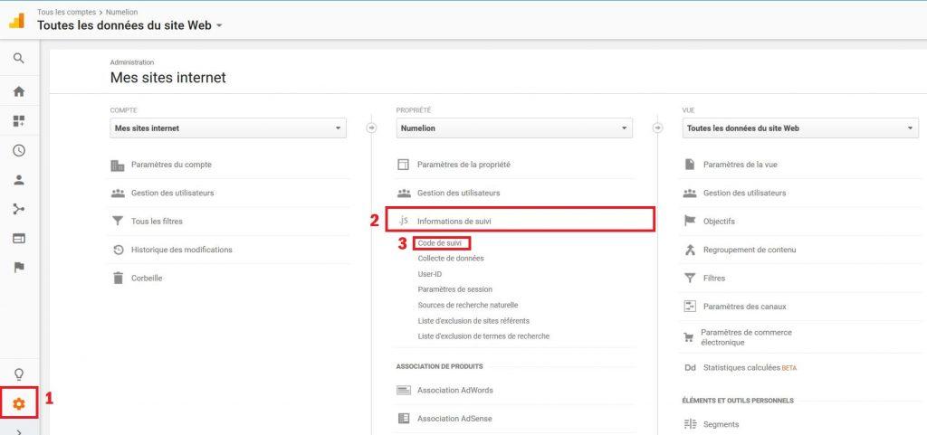 Trouver ID et code suivi dans Google Analytics