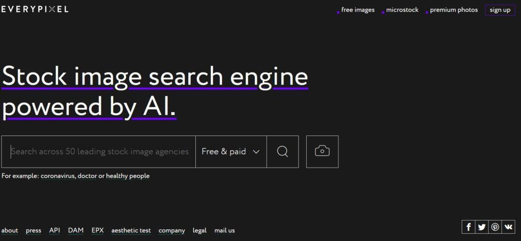 Everypixel - Moteur de recherche d'images et photos