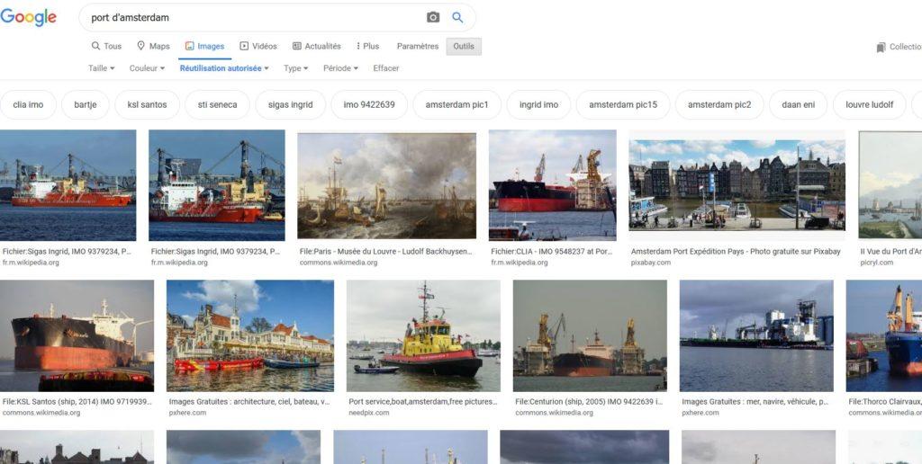 Recherche d'Images libres de droits avec Google