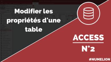 Modifier les propriétés d'une table