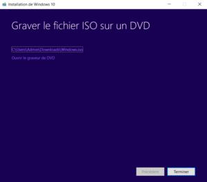 8 - Fin de la création du support Windows Professionnel