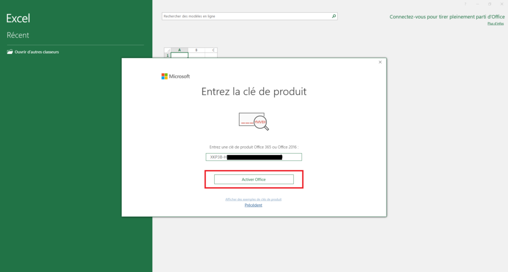 Clé d'activation de Microsoft Office Professionnel