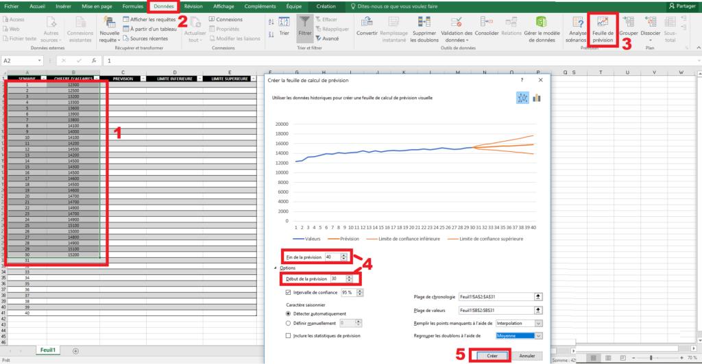 Créer une prévision avec Excel