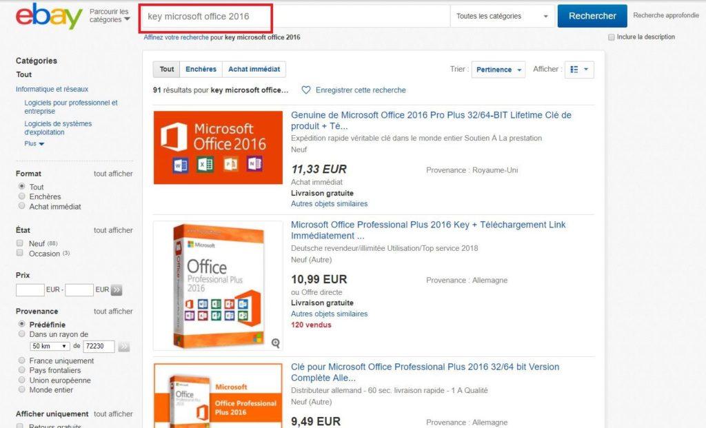 Faire une recherche pour Microsoft Office Professionnel