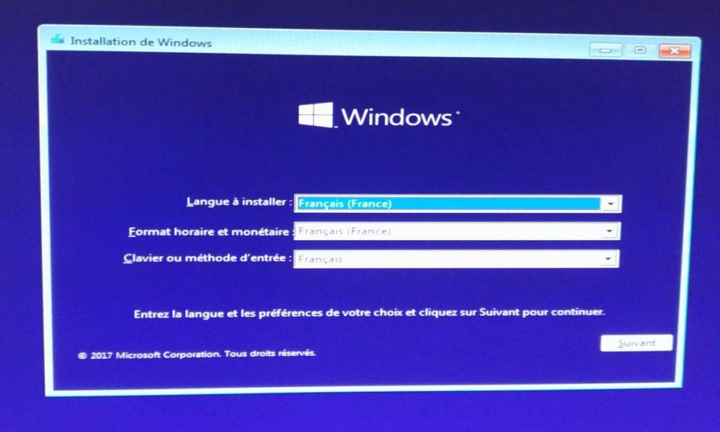 Installation de Windows 10 Professionnel