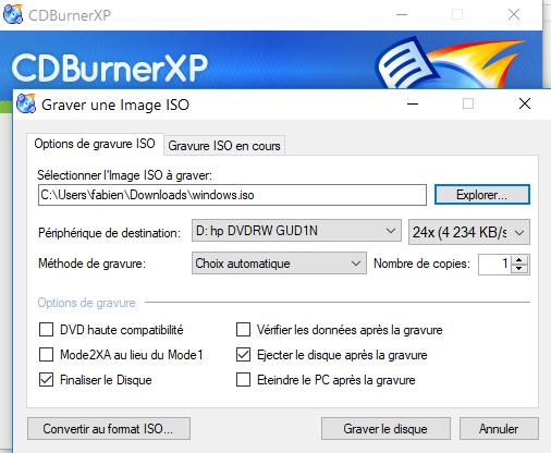 Commencer à graver avec CDBurnerXP