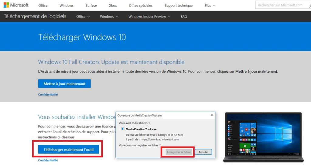 Outil pour télécharger Windows Professionnel