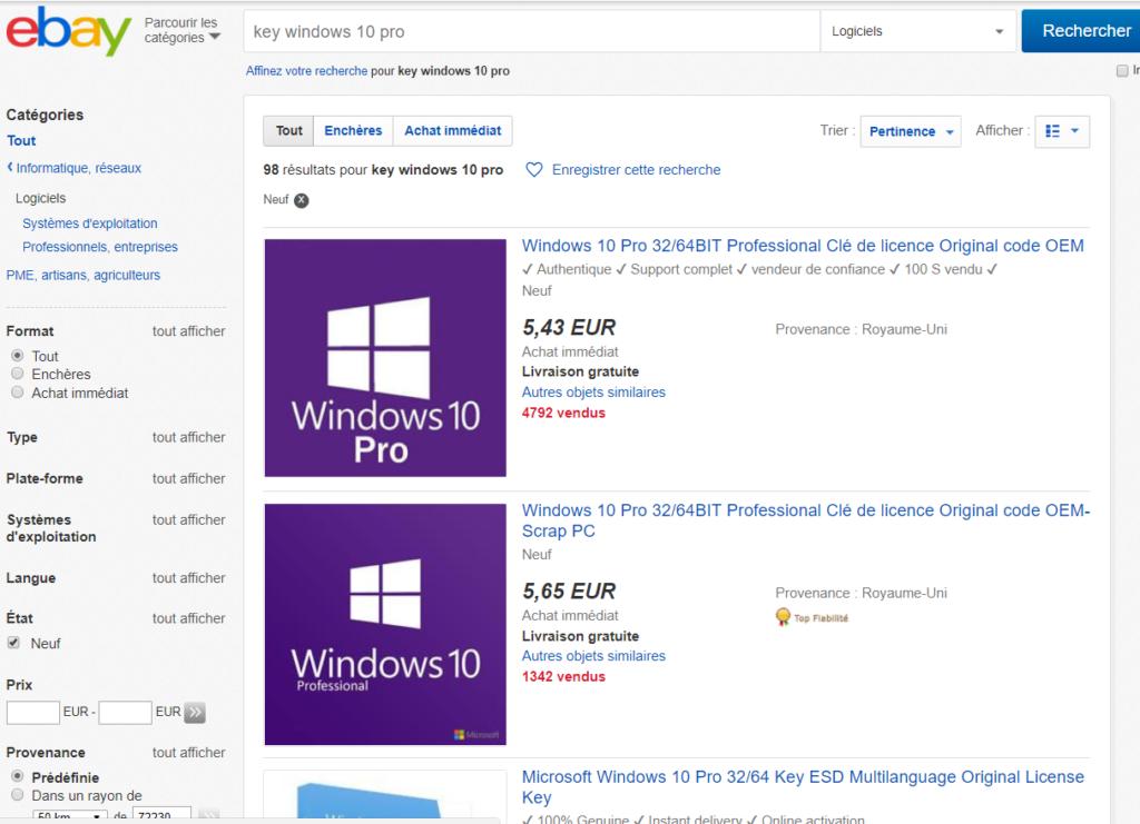 Recherche de Windows 10