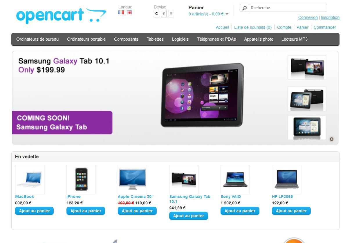 Opencart pour créer une boutique en ligne